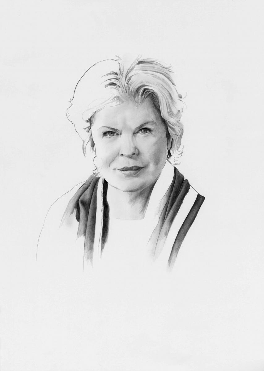 """Ella Fontanals-Cisneros et une œuvre de sa collection. """"Untitled"""" (1969-1970), de Raúl Martínez. Huile sur toile."""