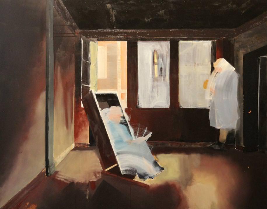 Homme Mouvement(2015) d'Elliot Dubail, huile sur toile, 130 x 160 cm.