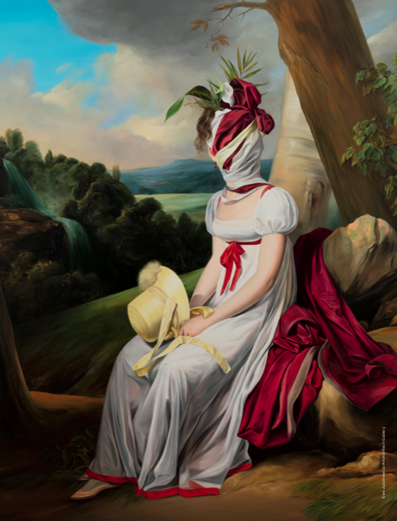 Portrait of a Lady (After Louis Léopold Boilly) [2019]. Huile sur toile, 200 x 160 cm.