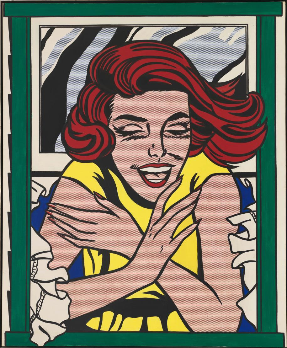 Roy Lichtenstein, Girl in Window (Study for World's Fair Mural), 1963, huile et acrylique sur toile, 173 x 142,2 cm, gift of the American Contemporary Art Foundation, Inc., Leonard A. Lauder, President. © Estate of Roy Lichtenstein New York / Adagp, Paris, 2017