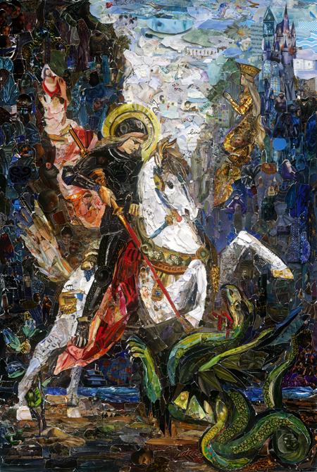 Vik Muniz,Saint Georges et le dragon, d'après Gustave Moreau(2018). © Vik Muniz