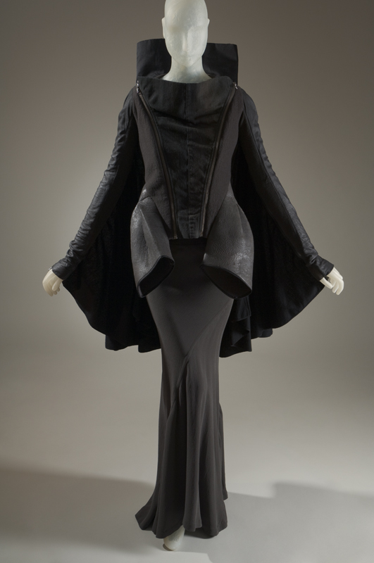 Rick Owens, ensemble, fall 2008, France, gift of Rick Owens. 2010.94.1. Featured in Gothic: Dark Glamour (2008)