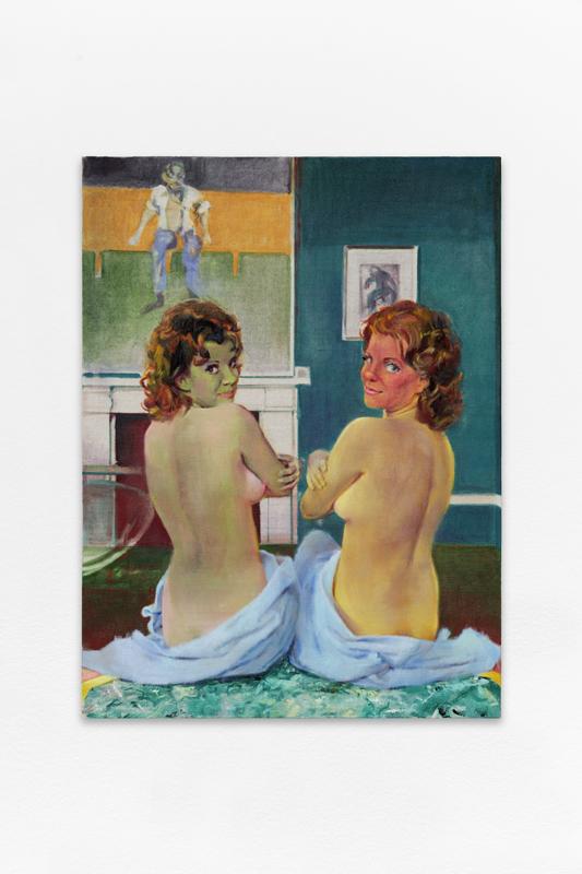 """Nina Childress, """"Fake Bacon and twins"""" (2017). 130 x 97 cm. Huile sur toile. Courtesy de l'artiste et Galerie Bernard Jordan (Paris / Zurich) © Aurélien Mole / ©ADAGP, Paris, 2020"""