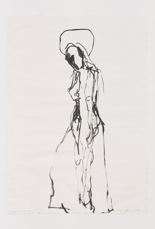 """Tracey Emin, """"I stood and cryed""""(2018).Acrylique sur papier, 83.1 x 58.7 cm © Tracey Emin. Droits réservés, Courtesy White Cube, Adagp, Paris, 2019"""