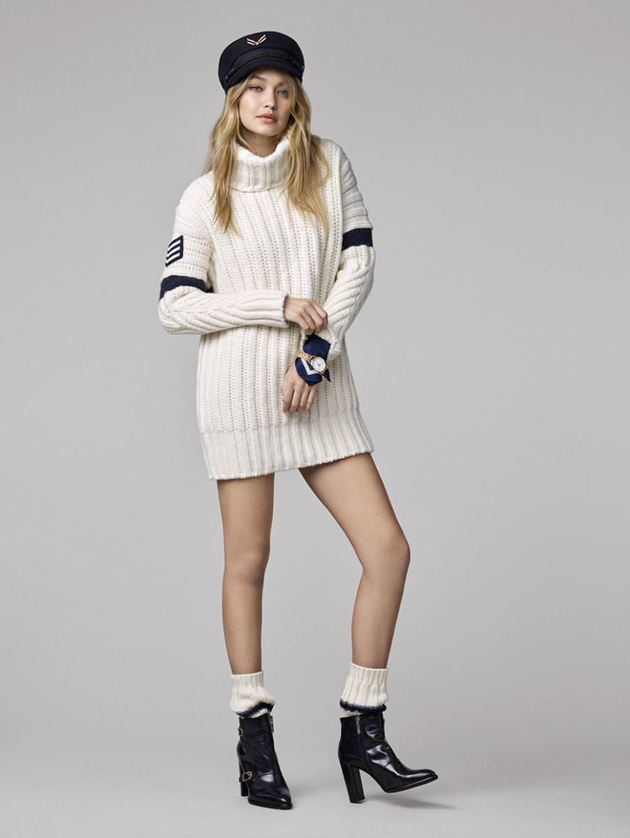 Gigi Hadid, revered top model with 22 million Instagram followers has joined forces with Tommy Hilfiger injecting the all-American brand with a dose of her own style.  Available in shades of black, blue and white with a dash of red and khaki, and embellished with chevrons, embroidery and stripes, the pieces composing this autumnal collection echo the sailor-inspired world of the fall-winter 2016/17 runway show.  The dresses, sweaters, jeans, trousers and bomber jackets together with the shoes and accessories will be available in boutiques and online from September 1st.   By Léa Zetlaoui