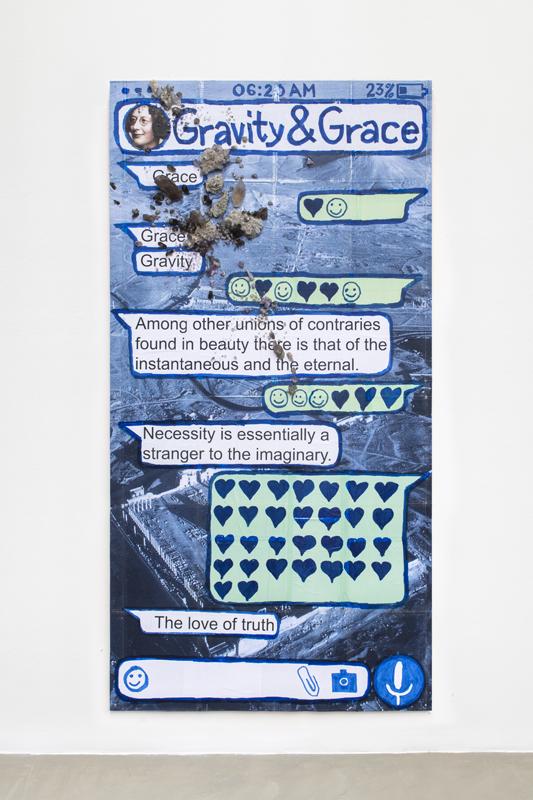 """Thomas Hirschhorn, """"Gravity and Grace (Chat-Poster)"""" (2020). Carton, bois, imprimés, feutre, adhésif, cristaux. 240 x 125 cm. Courtesy of the artist and Galerie Chantal Crousel, Paris. Photo : Martin Argyroglo."""