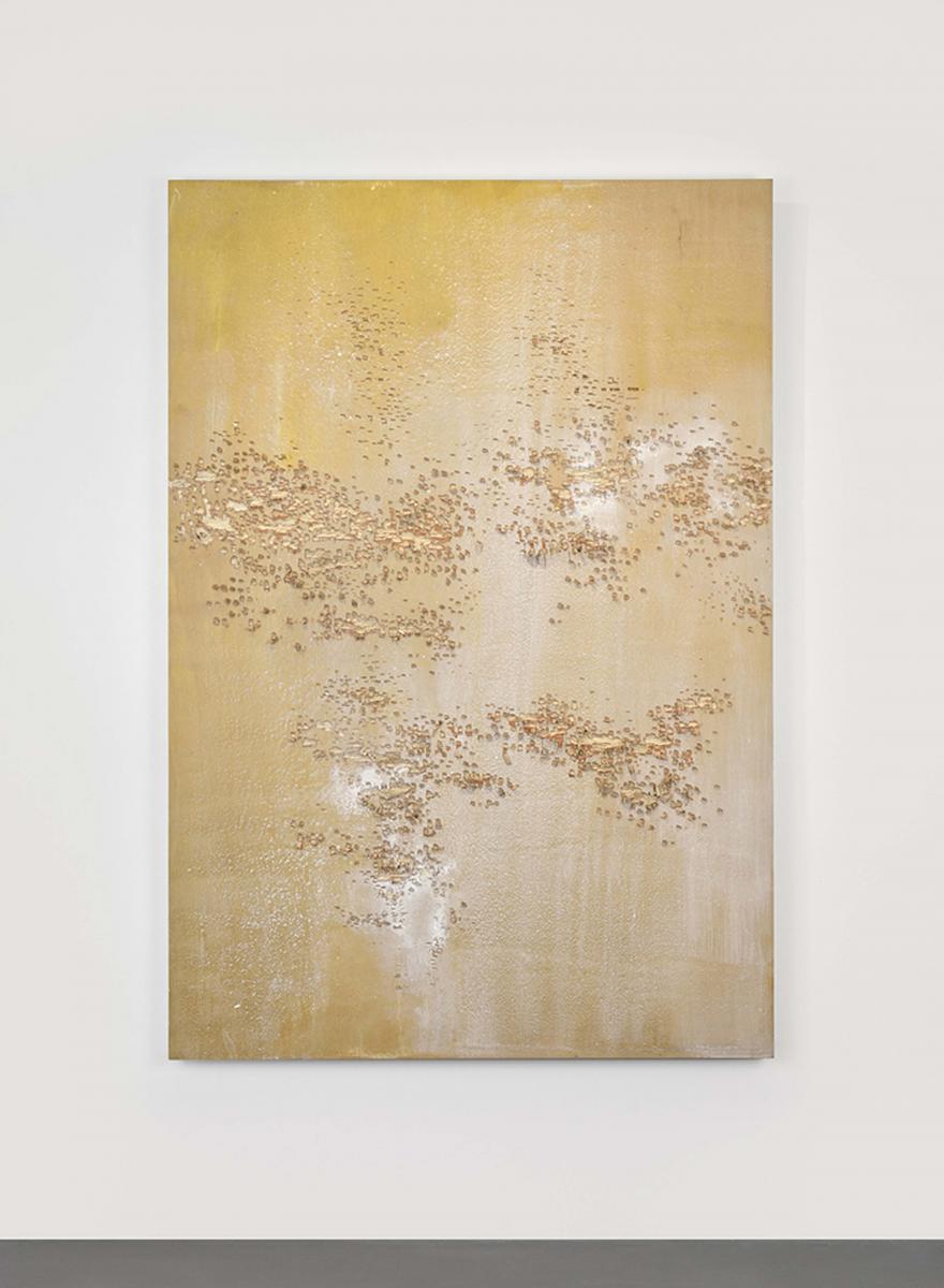 GALERIE FILLES DU CALVAIRE Isabelle Ferreira, Substraction (enxamel), 2017, bois, acrylique, 178x122x1, Courtesy de l'artiste et de la Galerie Maubert