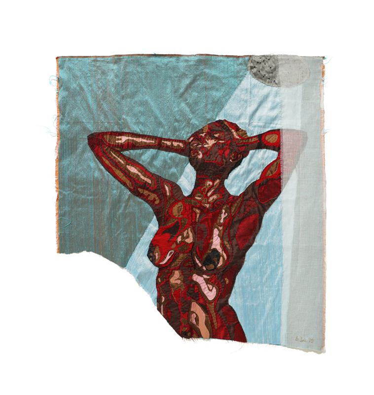 "Billie Zangewa, ""Cold shower"" (2019).Soie brodée,107 x 101 cm.Photo: Jurie Potgieter© Courtesy Templon, Paris – Brussels"