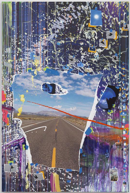 "Sarah Sze, ""Poke (Times Zero)"" (2020).Oil paint, acrylic paint, acrylic polymers, ink, aluminum, archival paper, graphite, diabond and wood.187.3 x 124.8 x 7 cm© Sarah Sze.Photo: Rob McKeever.Courtesy Gagosian"