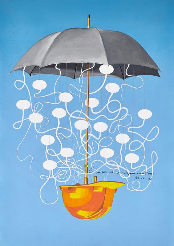 GillesBarbier.Ce qui est sorti du chapeau aujourd'hui (01.03.2016)2016.Posca, bombe de peinture et gouache sur calquepolyestère.Posca, paint bomb and gouacheon polyester layer84 x 59, 5 cm / 33 1/8 x 23 3/8 in.Pièce unique / Unique pieceCourtesy Galerie GP & N Vallois, Paris / Photo : JCLett