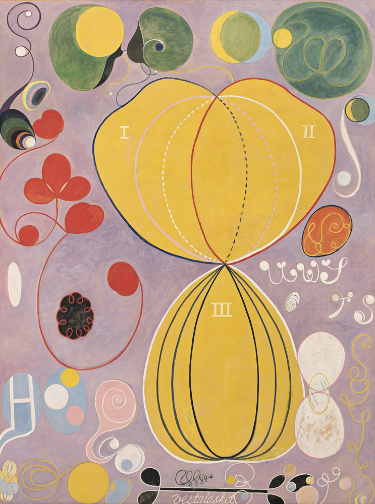 Group IV, The Ten Largest, No. 7, Adulthood (Grupp IV, De tio största, nr 7, Mannaåldern) [1907], Untitled serie, tempera marouflée sur toile, 315 x 235 cm. The Hilma af Klint Foundation, Stockholm. Photo: Albin Dahlström, the Moderna Museet, Stockholm