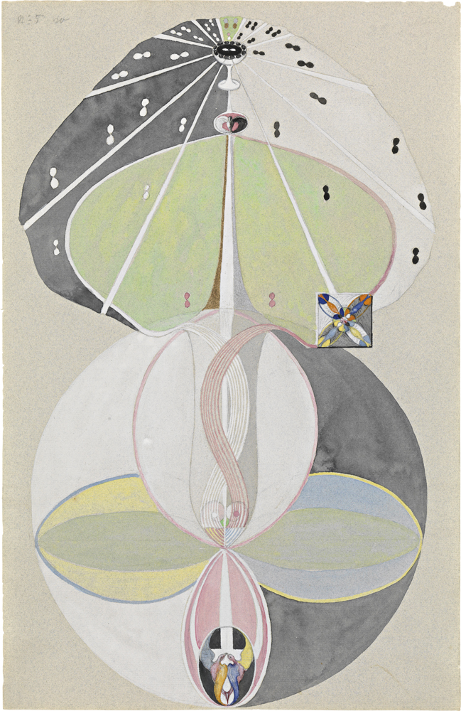 Tree of Knowledge, No. 5 (Kunskapens träd, nr 5), [1915], Série W, aquarelle, gouache, graphite et painture métallique sur papier, 45,8 x 29,5 cm. The Hilma af Klint Foundation, Stockholm. Photo: Albin Dahlström, the Moderna Museet, Stockholm.