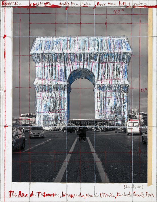 "Christo, ""The Arc de Triumph (Project for Paris, Place de l'Etoile – Charles de Gaulle) Wrapped"". Collage 2018 in two parts, 30.5 x 77.5 cm and 66.7 x 77.5 cm. Pencil, charcoal, wax crayon, fabric, twine, enamel paint, photograph by Wolfgang Volz, hand-drawn map and tape. Photo: André Grossmann© 2018 Christo"