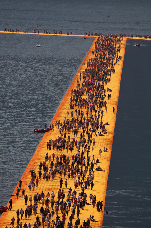 "Christo, ""The Floating Piers"", Project for Lake Iseo, Italy (2014-16). Photo: Wolfgang Volz © Christo 2016"