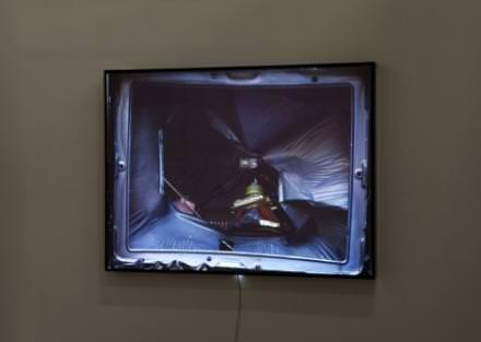 """Mohamed Bourouissa Screen 5, 2011  Light box 123 x 165 x 11 cm  View of the exhibition """"HEROES"""", kamel mennour (47, rue Saint-André-des-Arts), Paris, 2015  © Mohamed Bourouissa Photo. Fabrice Seixas Courtesy the artist and kamel mennour, Paris"""