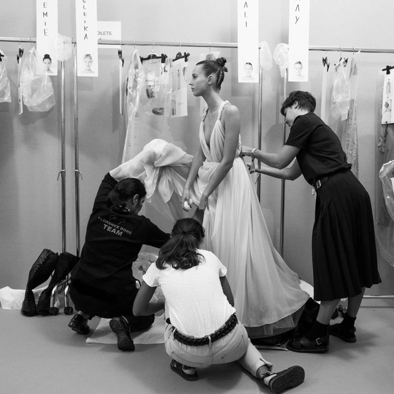 Backstage at the Spring-summer 2017 Dior show photographed by Janette Beckman.