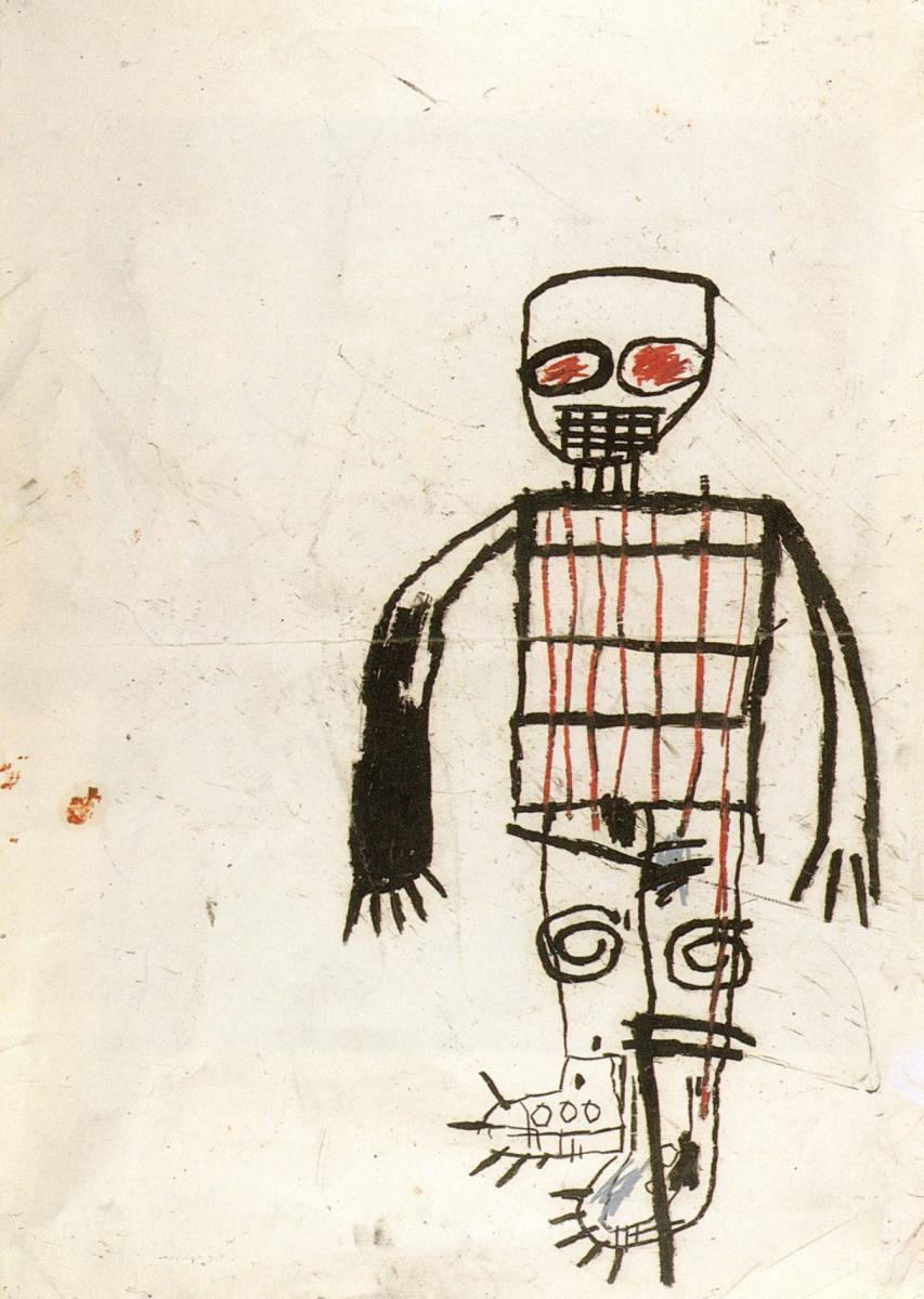 """Jean-Michel Basquiat,Autoportrait(1983), crayon gras sur papier,108 x 77 cm. Courtesy Collection agnès b.  """"J'ai toujours été à l'affût de la jeune création.En 1983, j'avais repéré un tableau de Basquiat à la Biennale de Paris. Je ne le connaissais pas du tout à l'époque et c'était même la seule œuvre que j'avais vue de lui. Mais mon enthousiasme était tel que j'ai immédiatement acheté cet autoportrait. C'est ma nature, je suisinstinctive. Je suis souvent portée vers des gens dont je pense instantanémentque je vaism'entendre avec eux.... Beaucoup d'œuvres sélectionnées pour cette exposition sont issues d'une rencontre. Le néon formant le mot """"Dansez"""" de Claude Lévêque, par exemple, a été réalisé pour une exposition à la galerie du jour. À l'époque, nous l'avions installé juste au-dessus de la porte comme une injonction lancée au visiteur !"""""""