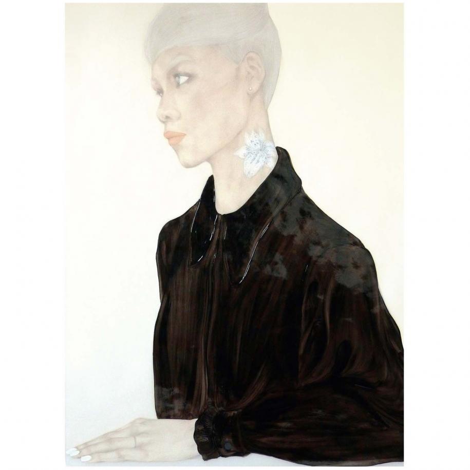 """""""Heart Headed""""(2014), huile sur papier transparent, 91 x 122 cm. Courtesy of the artist."""