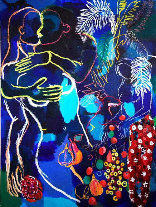 """Alice Grenier Nebout, """"La Poire suspendue"""",fusain, pastel gras et acrylique sur toile, 120x90 cm, collection particulière"""