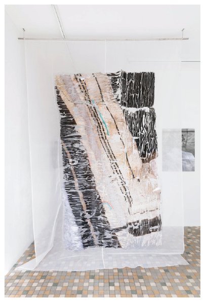 Tatjana Danneberg, I Can't Turn Around (2015), inkjet printing, watercolor, glue on silk and metal bar, ar. 300 x 200 cm. View from the exhibition, Ratatouille, at Shanaynay, Paris, 2015. Collective exhibition from Tatjana Danneberg, Anna Fehr, Simon Lässig, Vera Lutz, Philipp Reitsam, Halvor Rønning curated by Felix Gaudlitz.