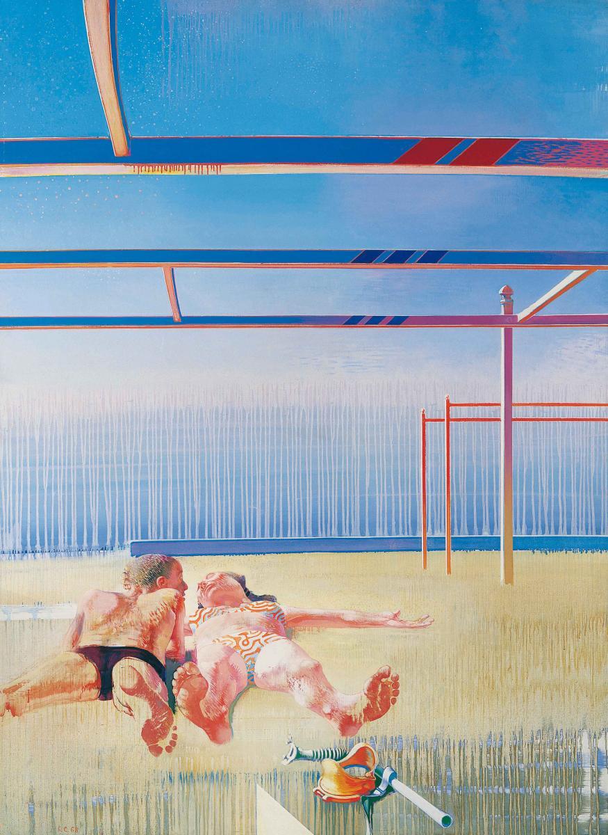 Les plafonds de la plage, 1968, huile sur toile, 201 x 147 cm - Leonardo Cremonini