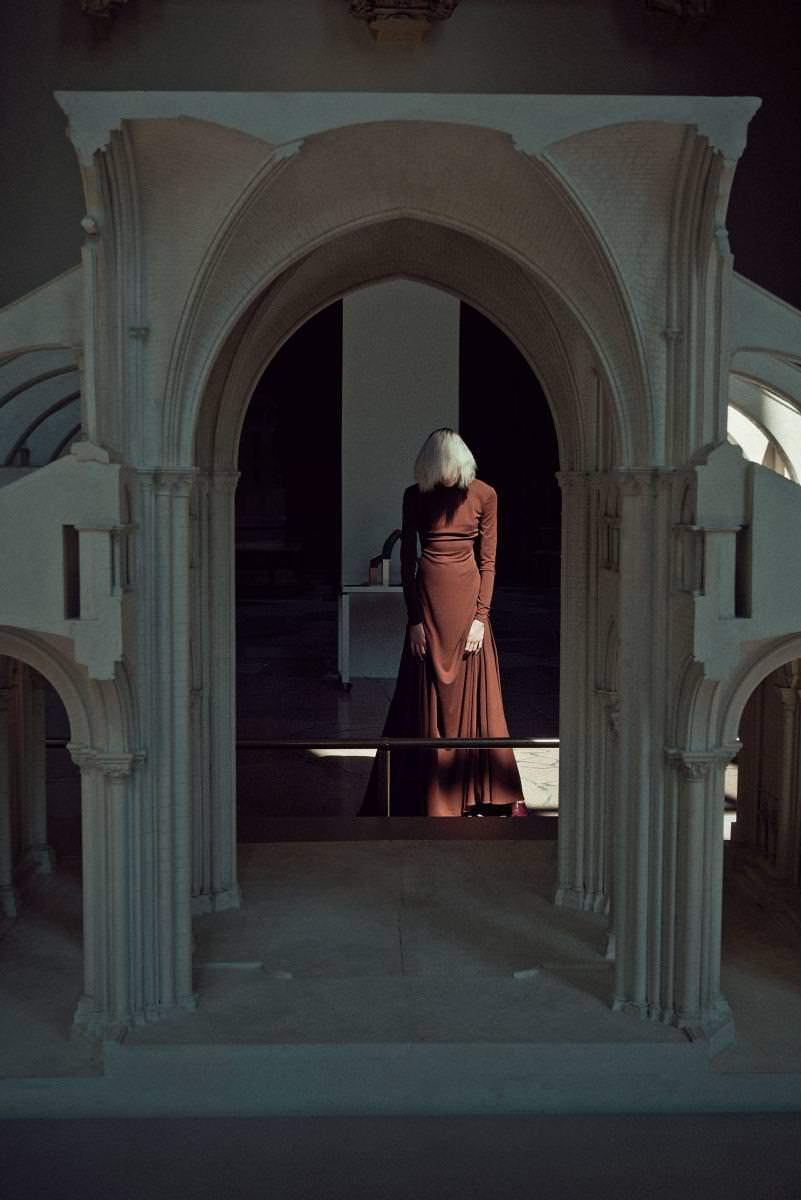 Robe longue en jersey de laine, RALPH LAUREN COLLECTION.