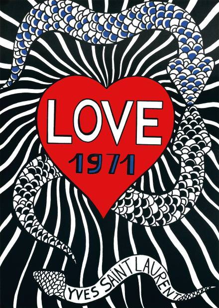 """""""Love 1971"""", croquis affiche, papier imprimé, 60,5 x 47cm. Fondation Pierre Bergé-Yves Saint Laurent, Paris."""
