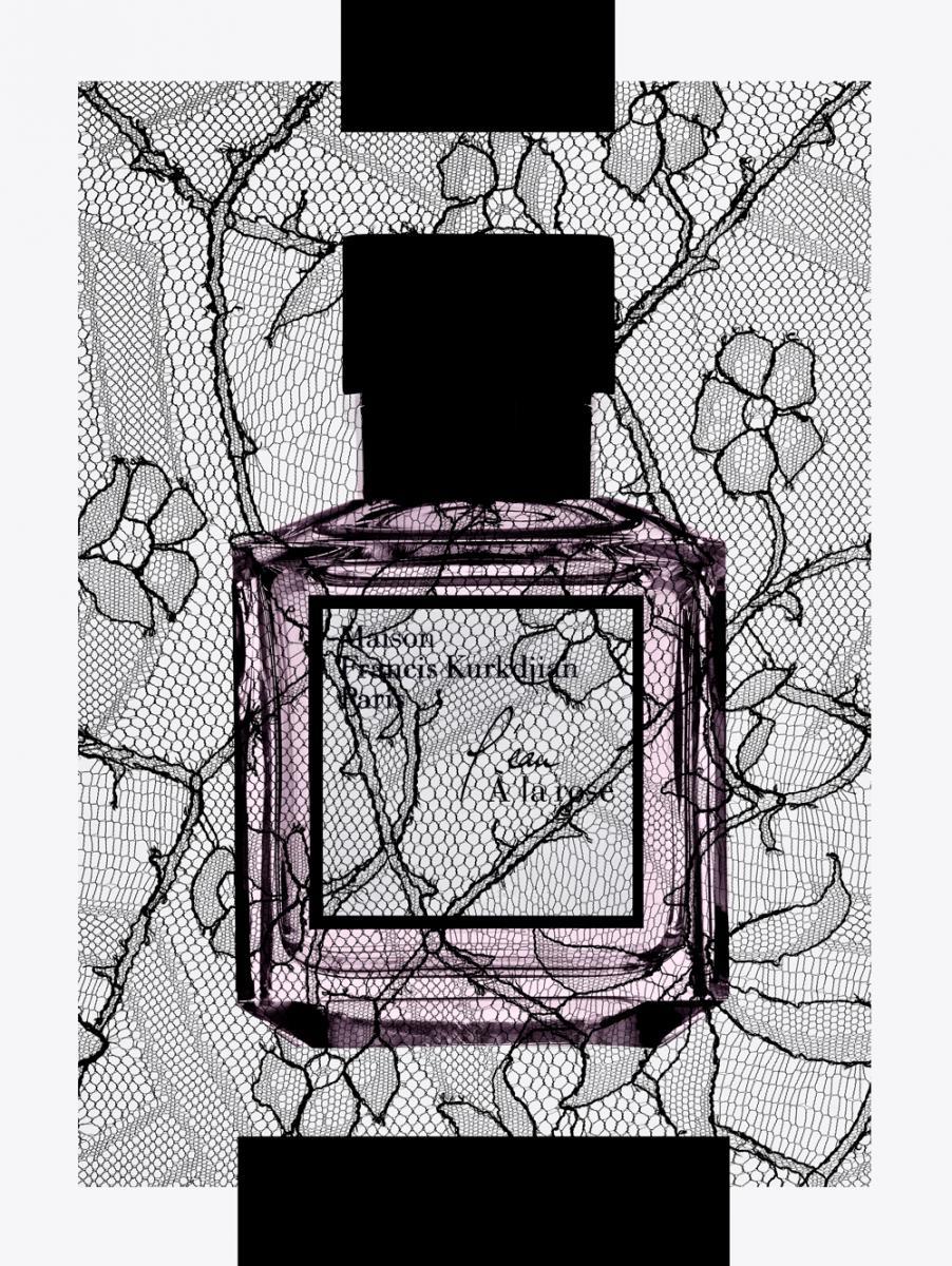"""Dans cette eau de toilette au long sillage, le maître parfumeur crée avec modernité un bouquetde roses humé au crépuscule et traversé d'effluves subtilement fruités. Construite autour de deux rosesextraordinaires de la parfumerie que sont Rosa damascena de Bulgarie, épicéeet fruitée, et Rosa centifolia,rosée et miellée, la fragrance est piquetée de notes acidulées et vertes de litchi et de pivoine, ettraversée par un subtil nuage de muscs. """"L'eau À la rose"""", eau de toilette, MAISON FRANCIS KURKDJIAN."""