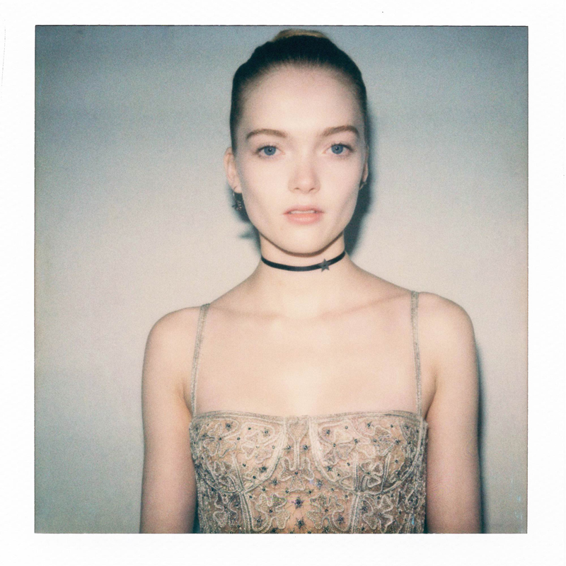 Polaroid of model May Bell for Dior spring-summer 2017 show in backstage.