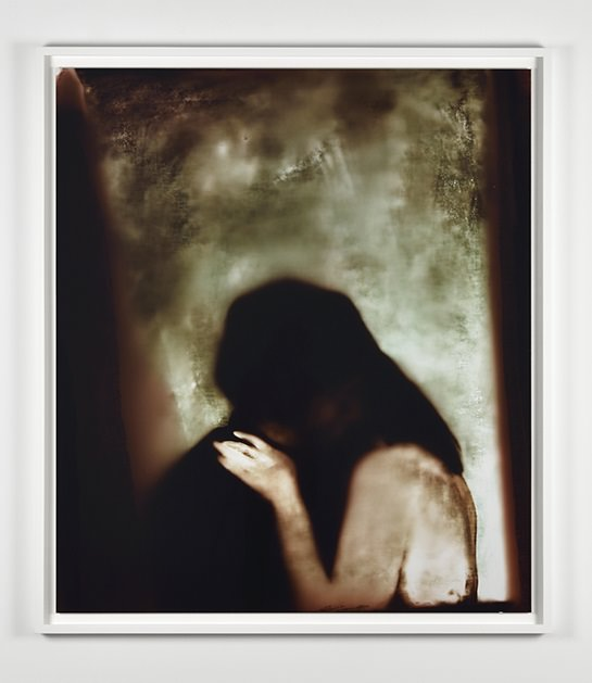 MATT SAUNDERS, Embrace, 2016. C-print Kodak Endura Premiere. Image: 49 9/16 x 43 1/4 in. (126 x 110 cm). Courtesy the artist and Marian Goodman Gallery, Paris   The creative technique always plays an important role in your painting. How did you work these images? What I found interesting about this new group of works was the thinking about how an image forms, through the interaction of various elements, but also the way that different materials come together. Without going into too much detail about the specific techniques I used, I'd say that the common point of all my paintings is the use of an enlarger which projects my drawings. I make them overlap to create different strata of photography. With this tool, I can endlessly work the light and the colours. Among the works presented, some of them were done by only layering drawings and no painting, and others by using paint.