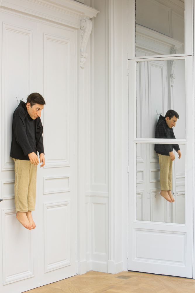 Sans titre, 2000 Polyester resin, wax, pigment, natural hair, clothes Photo : Zeno Zotti  View from Maurizio Cattelan exhibition, Not Afraid of Love at Monnaie de Paris, from october 21rst 2016 until January 8th 2017