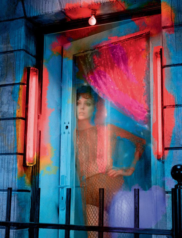Dress in leather fishnet, VALENTINO. Panty, LA PERLA.