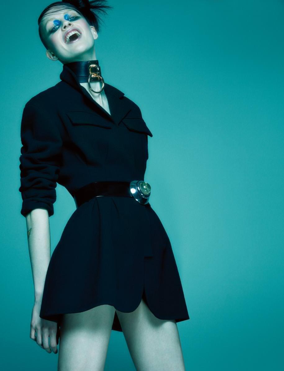 """Bar"" jacket, DIOR. Necklace, ZANA BAYNE. Belt, NEW YORK VINTAGE."