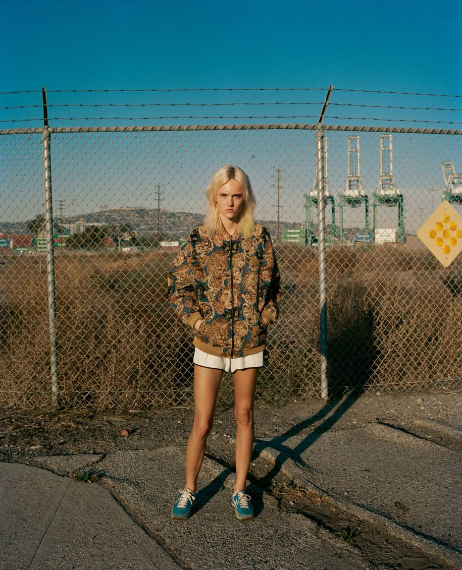 """Bomber, SAINT LAURENT BY HEDI SLIMANE. Earrings, CARTIER. Vintage shorts and sneakers.  Realisation: Havana Laffitte assisted byRochelle Marie Adam andde Karolyn Pho. Model: Harleth Kuusik from Elite Model. Haircut: Rick Gradone from Atelier Management. Make-up: Sabrina Bedrani from The Wall Group. Manucure: Valery Soto from Opus Beauty. Touch-up: Brent Adams/Two Three Two. Production: Alicia Zumback from Camp Productions.  Discover the fashion story""""Pink Light District"""" by Miles Aldridge with Matilda Dods.  Discover the fashion story """"Dree"""" by Drew Jarrett with DreeHemingway.  Discover more fashion stories in theNuméro Héroïnesfrom April2016, available now in newsstands and oniPad.   →Subscribe to the print edition of Numéro →Subscribe to the Numéro iPad app"""