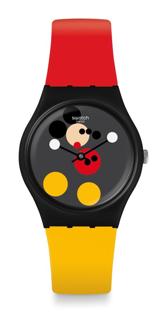 La montre Spot Mickey deSwatch imaginée par Damien Hirst.