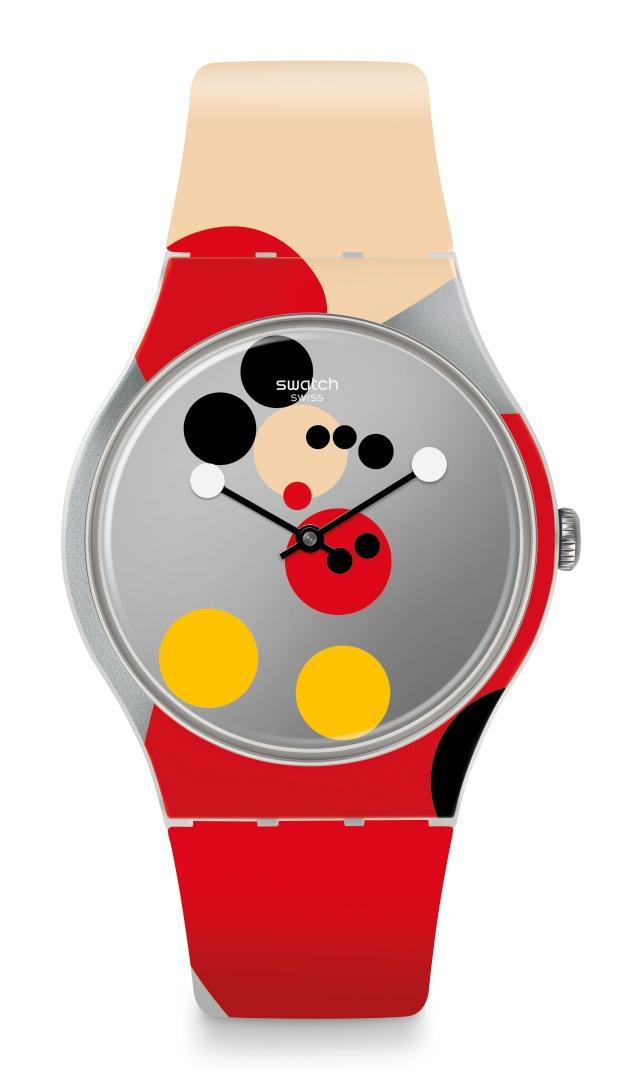 La montre Mirror Spot Mickey deSwatch imaginée par Damien Hirst.