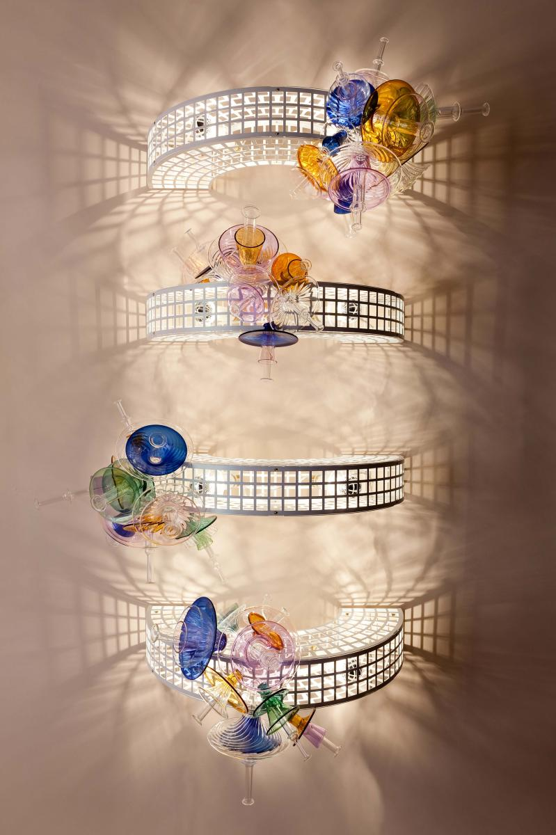 Trellis collection – four Arch wall lamps by Bethan Laura Wood UK, 2017 Nilufar Limited Edition of 10 examples – examples 1/10, 2/10, 3/10, 4/10 Steel frame, brass, pyrex glass Every piece is customizable in different sizes and colors Cad: 65 x 45 x h 23 cm