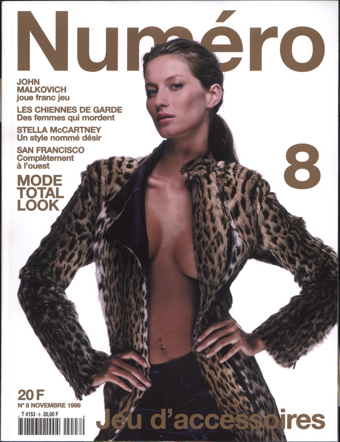 Gisele photographedby Sean Ellis for the cover of Numéro 8, November1999.