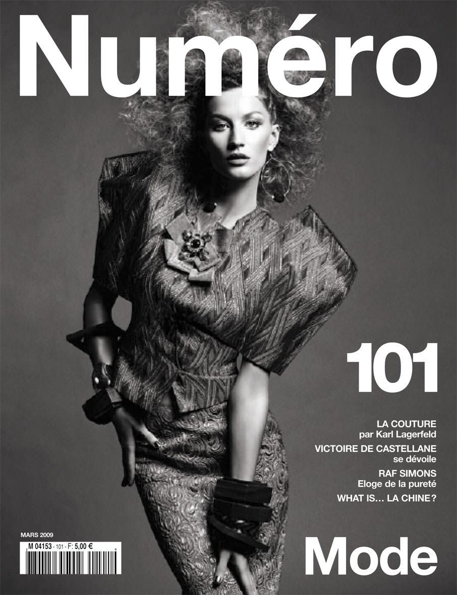 Gisele photographedby Greg Kadelfor the cover of Numéro 101, March2009.