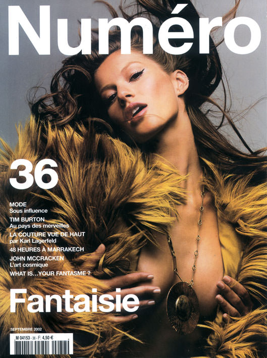Gisele photographedby Patrick Demarchelier for the cover ofNuméro36, September2002.