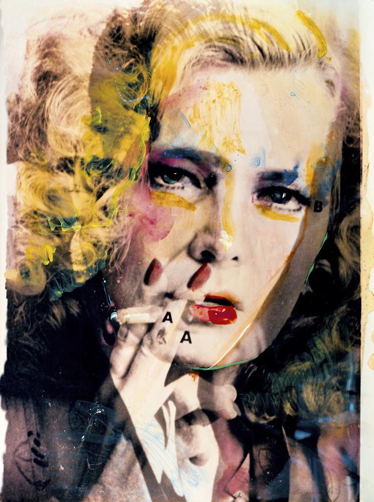 Lynn Hershman Leeson,Rowlands/Bogart (Female Dominant),série Hero Sandwich, (1982),peinture et collage. Courtesy of the artist et Bridget Donahue, New York.