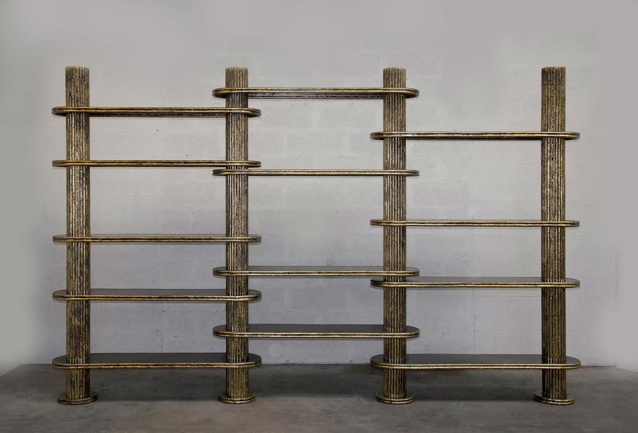 BIBLIOTHÈQUE de Thomas Duriez Acier et bronze 350 x 35 x 220 cm