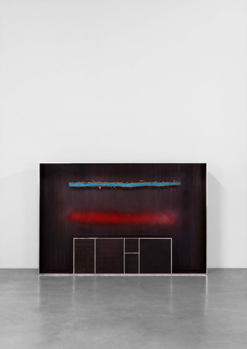 ANDREA BRANZI | PLANK CABINET 6 2015 PATINATED AND POLISHED ALUMINIUM, WOOD AND SPRAY PAINT H160 L240 W45.1 CM  LIMITED EDITION OF 12