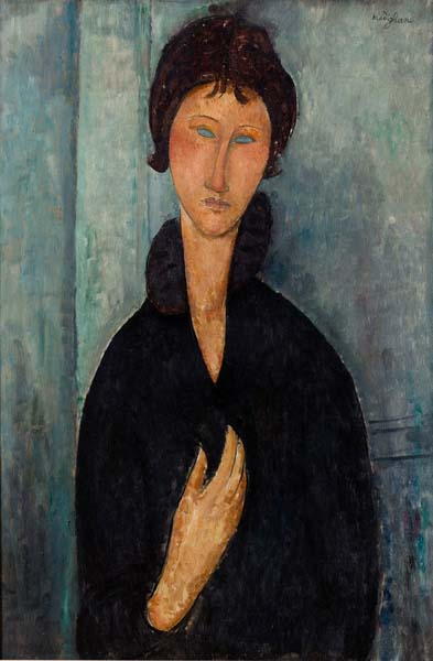 """Amedeo Modigliani, """"Femme aux yeux bleus"""" (1918). Musée d'Art moderne de la Ville de Paris."""