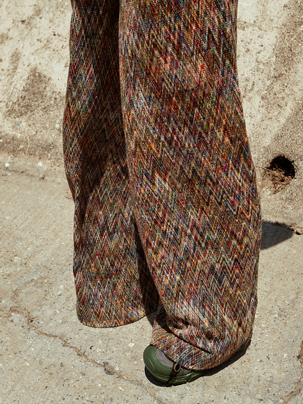 Herringbone wool trousers, MISSONI. Sneakers, GUCCI.