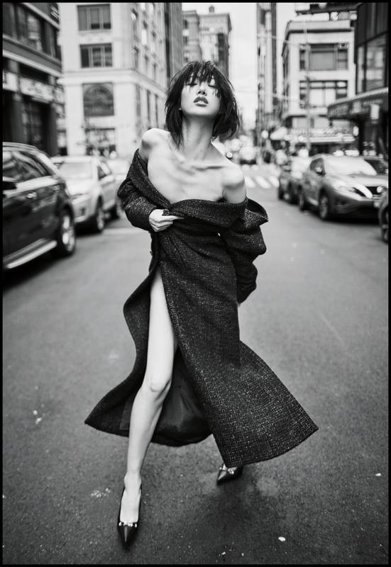 Oversized tweed coat,CHANEL. Stilettos, ALEXANDER WANG.