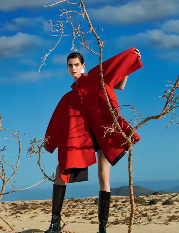 Moleskin coat in trompe l'oeil style and boots, BALENCIAGA.