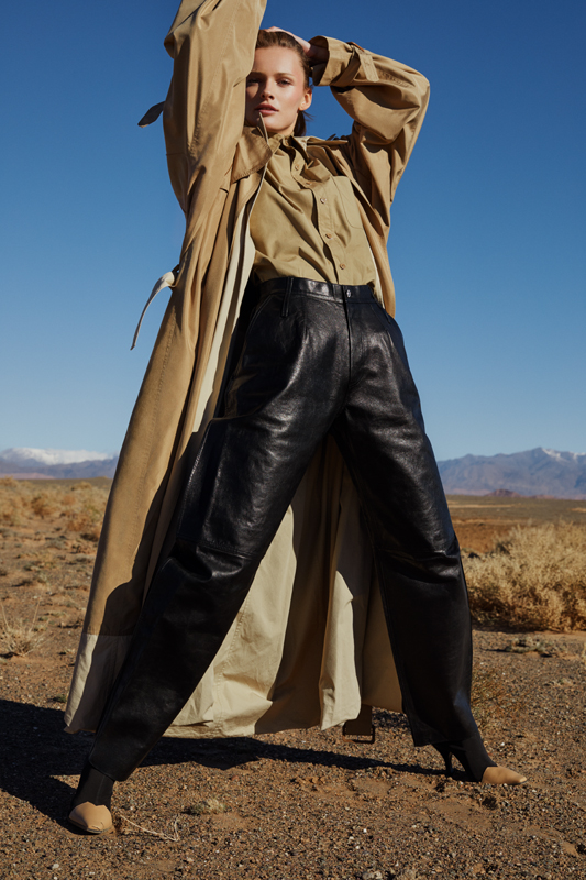 Trench and cotton gabardine shirt, leather trousers and shoes, CÉLINE.