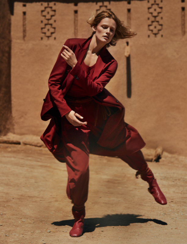 Woolen coat and trousers, tee-shirt and shoes, SALVATORE FERRAGAMO.