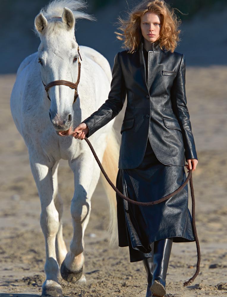 Leather jacket and skirt,MIU MIU.Boots,HERMÈS